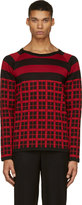 Christian Dada Black and Red Check Knit Shirt