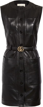 Gucci Belted Shiny Plonge Leather Minidress