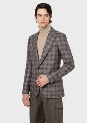 Emporio Armani Slim-Fit Jacket In Check Wool Blend