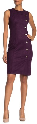 Calvin Klein Scuba Suede Side Button Sheath Dress