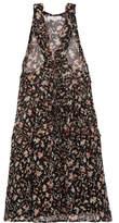 IRO Lace-up Printed Georgette Mini Dress - Black
