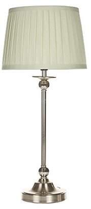 KLiving E14 40 Watt 4 Yeadon Nickel Table Lamp With Shade, Green Pleated, Nickel/Green