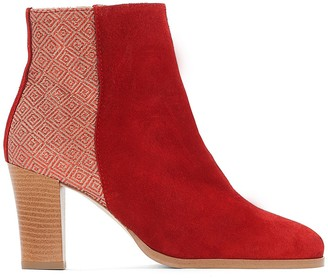 La Redoute Collections Dual Fabric Leather Ankle Boots