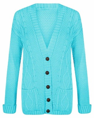 21Fashion Ladies Fancy Chunky Cable Knitted Grandad Cardigan Womens Pockets V Neck Sweater Turquoise