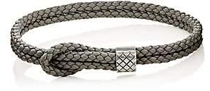 Bottega Veneta Men's Sterling Silver & Intrecciato Leather Bracelet-Light Gray