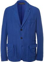 Haider Ackermann Blue Unstructured Stretch Cotton and Linen-Blend Blazer