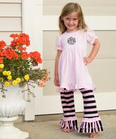 Princess Linens Pink & Black Monogram Dress & Pants - Infant Toddler & Girls