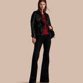 Burberry Lived-in Lambskin Biker Jacket with Detachable Warmer
