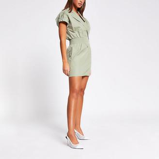 River Island Green shirred waist mini dress