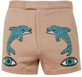 Topman DESIGN Brown Dolphin Eye Jersey Shorts