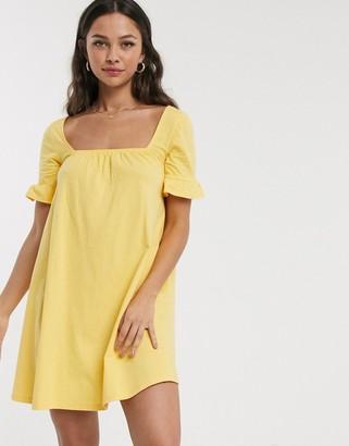 ASOS DESIGN square neck frill sleeve smock dress in buttermilk