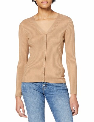 Dorothy Perkins Women's Camel Fitted Rib Cardigan Sweater 18