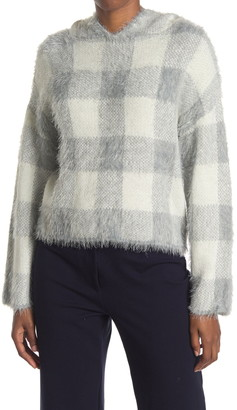 Cliche Plaid Hooded Eyelash Sweater