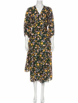 Apiece Apart Silk Midi Length Dress Green