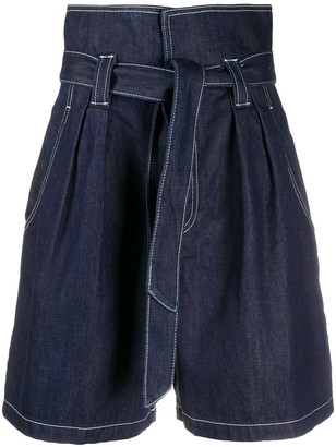 Temperley London Fontana paperbag-waist high-rise shorts