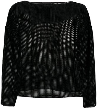Emporio Armani Semi-Sheer Boat Neck Blouse