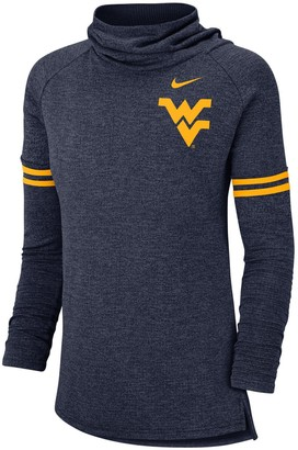 Nike Women's Heathered Navy West Virginia Mountaineers Vault Sleeve Striped Funnel Neck Sweatshirt
