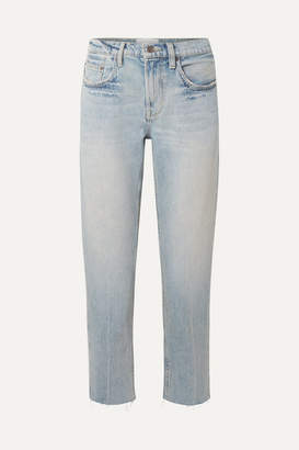 Current/Elliott The His Cropped Distressed Boyfriend Jeans - Light denim