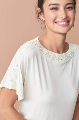 Next Womens Cream Embellished Neck Top - Cream
