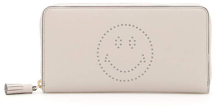 Anya Hindmarch Large Zip-around Wallet With Smiley