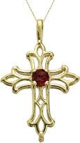 JCPenney FINE JEWELRY Genuine Garnet 10K Yellow Gold Cross Pendant Necklace