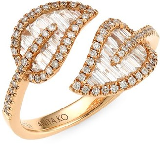 Anita Ko Small 18K Rose Gold & Diamond Baguette Leaf Ring