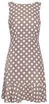 Wallis Petite Taupe Polka Dot Flute Hem Dress