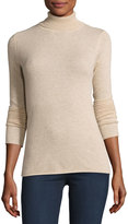 Neiman Marcus Knit Cashmere Turtleneck Sweater, Oatmeal
