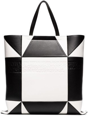 Calvin Klein white and black geometric quilted leather tote