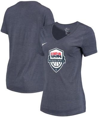 Nike Women's Heathered Blue USA Basketball Team Logo Tri-Blend V-Neck T-Shirt