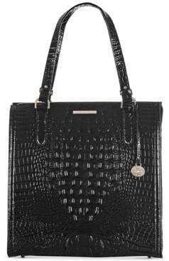 Brahmin Black Melbourne Embossed Leather Large Caroline Satchel