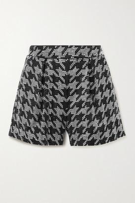 retrofete Clara Crystal-embellished Houndstooth Satin Shorts - Black