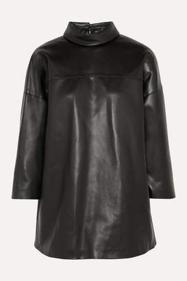 we11done Faux Leather Turtleneck Top - Black