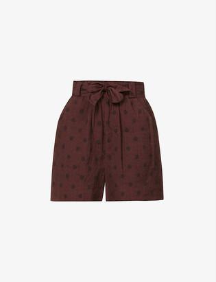 Peony Swimwear Polka dot-print high-rise organic cotton-blend shorts