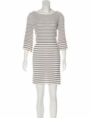 Chanel 2017 Striped Mini Dress blue