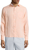 Neiman Marcus Linen Chambray Long-Sleeve Button-Front Shirt, Apricot