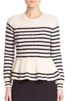 RED Valentino Virgin Wool Peplum Sweater