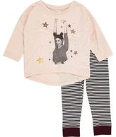 River Island Mini girls pink top stripe leggings pajamas