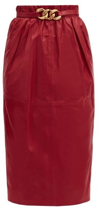 No.21 No. 21 - Belted High-rise Leather Pencil Skirt - Red