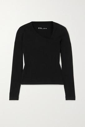 RtA Lise Asymmetric Stretch-cotton Top - Black