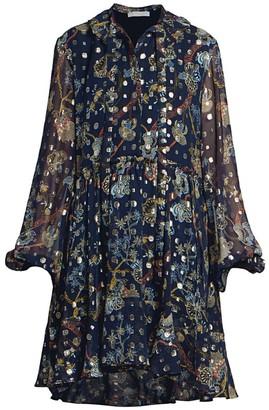 Chloé Puff-Sleeve Silk Floral Dress
