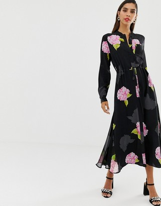 French Connection midi shirt floral bloom dress