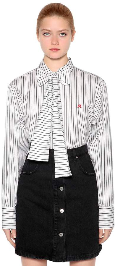 MSGM Striped Cotton Poplin Shirt W/ Bow