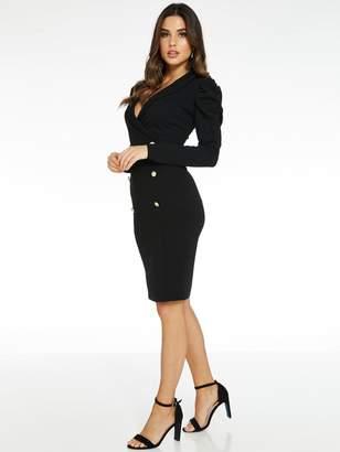 Quiz Puff Sleeve Button Midi Dress - Black