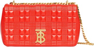 Burberry Small Lola TB Quilted Check Leather Shoulder Bag
