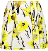 Alice + Olivia Connor Pleated Printed Cotton And Silk-Blend Mini Skirt