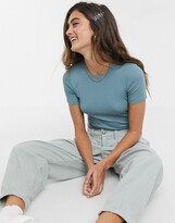Monki ribbed crop t-shirt in turquoise