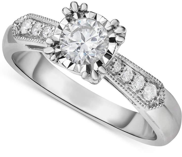 Macy's Diamond Vintage-Inspired Milgrain Engagement Ring (5/8 ct. t.w.) in 14k White Gold