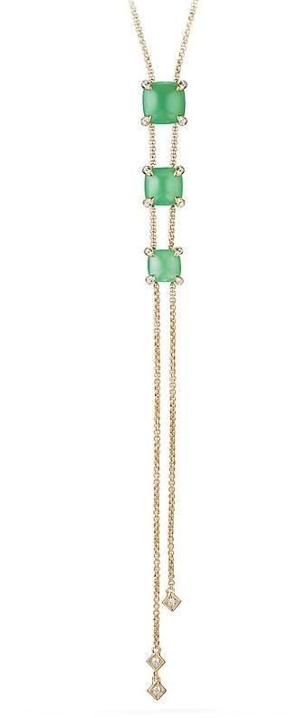 David Yurman Ch'telaine Y Necklace with Chrysoprase & Diamonds in 18K Gold
