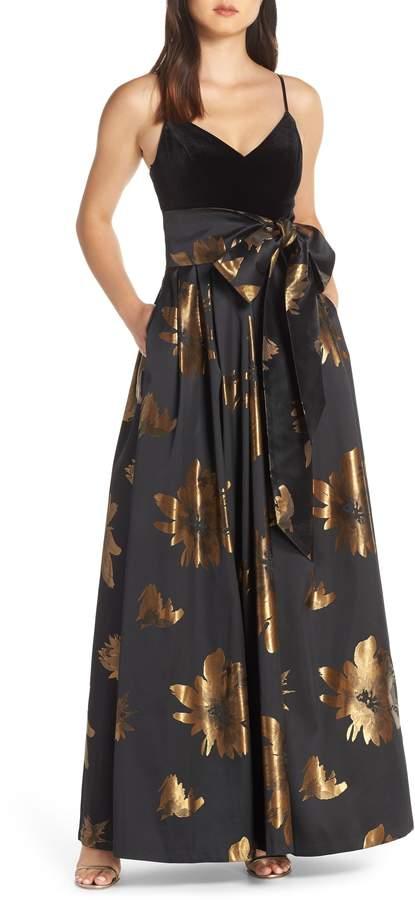 Eliza J Metallic Print Gown